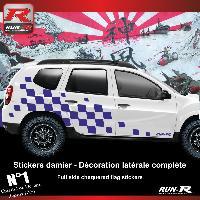 Adhesifs Dacia 2 stickers bas de caisse damier pour DACIA Duster - Marine Run-R Stickers