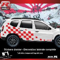 Adhesifs Dacia 2 stickers bas de caisse damier pour DACIA Duster - Rouge Run-R Stickers