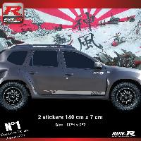 Adhesifs Dacia 2 stickers bas de caisse style PORSCHE pour DACIA Duster - Argent Run-R Stickers