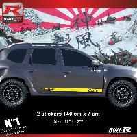 Adhesifs Dacia 2 stickers bas de caisse style PORSCHE pour DACIA Duster - Jaune Run-R Stickers
