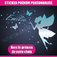 Adhesifs Enfants Sticker mural prenom fille Fee papillon etoile 28 cm - Chrome - Run-R Stickers