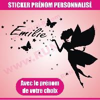 Adhesifs Enfants Sticker mural prenom fille Fee papillon etoile 28 cm - Noir - Run-R Stickers