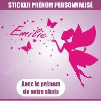 Adhesifs Enfants Sticker mural prenom fille Fee papillon etoile 28 cm - Rose - Run-R Stickers