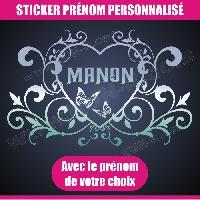 Adhesifs Enfants Sticker mural prenom fille coeur arabesque papillon 55 cm - Chrome - Run-R Stickers