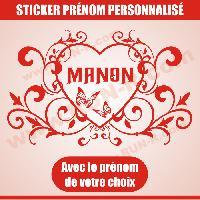 Adhesifs Enfants Sticker mural prenom fille coeur arabesque papillon 55 cm - Rouge - Run-R Stickers