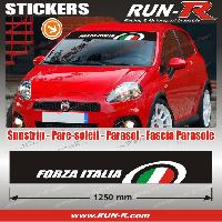 Adhesifs Fiat 1 pare-soleil FORZA ITALIA 125 cm - Fond NOIR logo VERT BLANC ROUGE Run-R Stickers