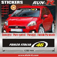 Adhesifs Fiat 1 pare-soleil FORZA ITALIA 46 - 125 cm - Fond NOIR logo BLANC et JAUNE Run-R Stickers