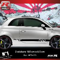 Adhesifs Fiat Sticker bas de caisse 00ENN pour FIAT 500 - noir Run-R Stickers