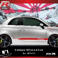 Adhesifs Fiat Sticker bas de caisse 00ENR pour FIAT 500 - Rouge Run-R Stickers