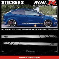 Adhesifs Ford 2 stickers compatible avec FORD 140 cm - ARGENT lettres NOIRES