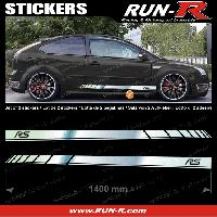 Adhesifs Ford 2 stickers pour FORD 140 cm - CHROME lettres NOIRES Run-R Stickers