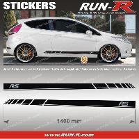 Adhesifs Ford 2 stickers pour FORD 140 cm - NOIR lettres CHROMES Run-R Stickers