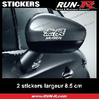 Adhesifs Honda 2 sticker MUGEN compatible avec retroviseurs - 10 cm - BLANC