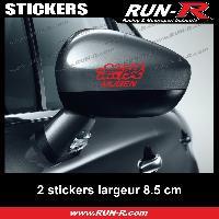Adhesifs Honda 2 sticker MUGEN compatible avec retroviseurs - 10 cm - ROUGE