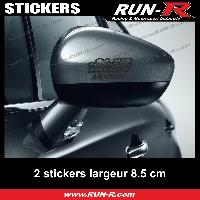 Adhesifs Honda 2 sticker MUGEN pour retroviseurs - 10 cm - NOIR Run-R Stickers