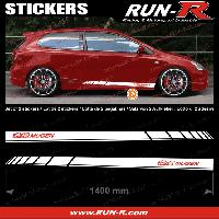 Adhesifs Honda 2 stickers HO32B pour HONDA MUGEN 140 cm - BLANC lettres ROUGES Run-R Stickers