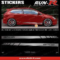 Adhesifs Honda 2 stickers compatible avec HONDA MUGEN 140 cm - ARGENT lettres NOIRES