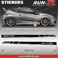 Adhesifs Honda 2 stickers compatible avec HONDA MUGEN 140 cm - NOIR lettres CHROMES