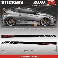 Adhesifs Honda 2 stickers compatible avec HONDA MUGEN 140 cm - NOIR lettres ROUGES