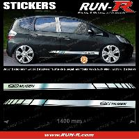 Adhesifs Honda 2 stickers pour HONDA MUGEN 140 cm - CHROME lettres NOIRES Run-R Stickers
