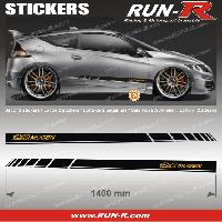 Adhesifs Honda 2 stickers pour HONDA MUGEN 140 cm - NOIR lettres DOREES Run-R Stickers