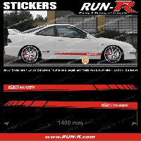 Adhesifs Honda 2 stickers pour HONDA MUGEN 140 cm - ROUGE lettres BLANCHES Run-R Stickers