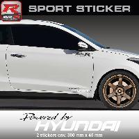 Adhesifs Hyundai PW23 NB - Sticker Powered by HYUNDAI - NOIR BLANC - pour i20 i30 i10 ioniq ix35 ix20 Tucson i40 Run-R Stickers
