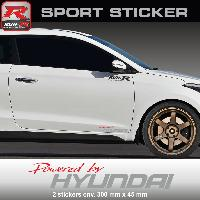 Adhesifs Hyundai PW23 RA - Sticker Powered by HYUNDAI - ROUGE ARGENT - pour i20 i30 i10 ioniq ix35 ix20 Tucson i40 Run-R Stickers