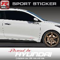 Adhesifs Hyundai PW23RB Sticker Powered by HYUNDAI ROUGE BLANC pour i20 i30 i10 ioniq ix35 ix20 Tucson i40 Run-R Stickers