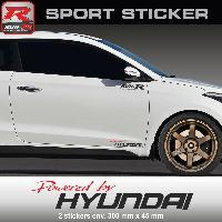 Adhesifs Hyundai PW23 RN - Sticker Powered by HYUNDAI - ROUGE NOIR - pour i20 i30 i10 ioniq ix35 ix20 Tucson i40 Run-R Stickers