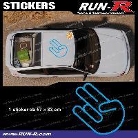 Adhesifs JDM Sticker de toit JDM 83 cm bleu vif mat Japan Domestic Market compatible Honda Nissan Toyota Subaru Mazda Run-R Stickers