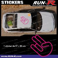 Adhesifs JDM Sticker de toit JDM 83 cm rose mat Japan Domestic Market compatible avec Honda Nissan Toyota Subaru Mazda Run-R Stickers