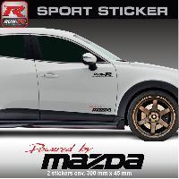 Adhesifs Mazda PW11 RN - Sticker Powered by MAZDA - ROUGE NOIR - pour MAZDA 2 3 6 MPS CX-3 CX-5 MX-5 RF CX3 MX5 CX5 Run-R Stickers