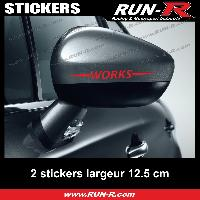 Adhesifs Mini 2 sticker MINI WORKS pour retroviseurs - 12 cm - ROUGE Run-R Stickers