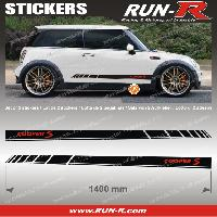 Adhesifs Mini 2 stickers MI32N MINI COOPER S 140cm - NOIR lettres ROUGES Run-R Stickers