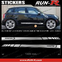 Adhesifs Mini 2 stickers MINI COOPERS S 140 cm - ARGENT lettres NOIRES Run-R Stickers