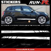 Adhesifs Mini 2 stickers MINI COOPERS S 140 cm - BLANC lettres ARGENT