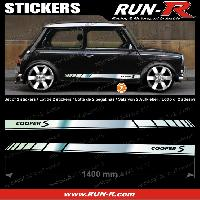 Adhesifs Mini 2 stickers MINI COOPERS S 140 cm - CHROME lettres NOIRES Run-R Stickers