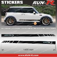 Adhesifs Mini 2 stickers MINI COOPERS S 140 cm - NOIR lettres CHROMES Run-R Stickers