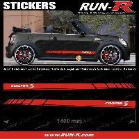 Adhesifs Mini 2 stickers MINI COOPERS S 140 cm - ROUGE lettres BLANCHES Run-R Stickers
