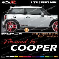 Adhesifs Mini MI131 - 2 stickers POWERED BY COOPER - Rouge et Blanc - 34 cm Run-R Stickers