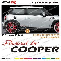 Adhesifs Mini MI132 - 2 stickers POWERED BY COOPER - Rouge et Noir - 34 cm Run-R Stickers