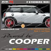Adhesifs Mini MI133 - 2 stickers POWERED BY COOPER - Noir et Blanc - 34 cm Run-R Stickers