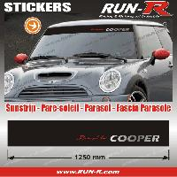 Adhesifs Mini MI421 - 1 pare-soleil POWERED BY COOPER - Fond NOIR lettres ROUGES et ARGENT - 125 cm Run-R Stickers