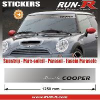 Adhesifs Mini MI423 - 1 pare-soleil POWERED BY COOPER - Fond ARGENT lettres BLANCHES et NOIRES - 125 cm Run-R Stickers