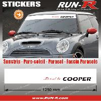 Adhesifs Mini MI424 - 1 pare-soleil POWERED BY COOPER - Fond BLANC lettres ROUGES et NOIRES 125 cm Run-R Stickers