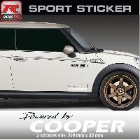 Adhesifs Mini PW15 NB - Sticker Powered by COOPER - NOIR BLANC - pour MINI One Cooper S Countryman Clubman Paceman Works Run-R Stickers