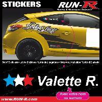 Adhesifs Noms Pilotes 2 stickers NOM PILOTE drift rallye style 3 etoiles - Lettrage blanc Run-R Stickers