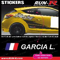 Adhesifs Noms Pilotes 2 stickers NOM PILOTE drift rallye style CLASSIQUE - Lettrage blanc