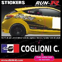 Adhesifs Noms Pilotes 2 stickers NOM PILOTE drift rallye style CORSE - Lettrage blanc Run-R Stickers